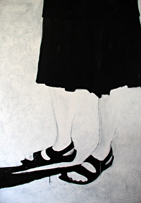 Self-portrait in black and white on canvas.